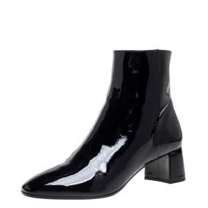 Aquazzura Black Patent Leather Grenelle Ankle Bootie Size 38