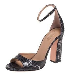 Aquazzura Black/Grey Disco Jacquard Fabric Capucine Ankle Strap Sandals Size 40