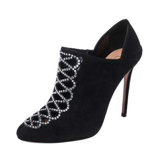 Aquazzura Black Suede Leather And Satin Amour Crystal Embellished Ankle Booties Size 37.5
