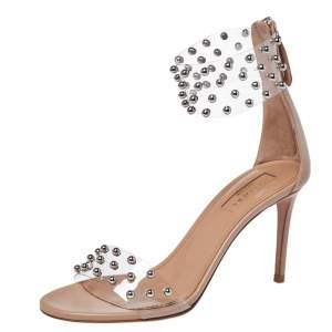 Aquazzura Beige Leather And Studded PVC Illusion Ankle Cuff Sandals Size 35.5