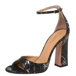 Aquazzura Black Brocade Fabric Capucine Ankle Strap Sandals Size 38.5