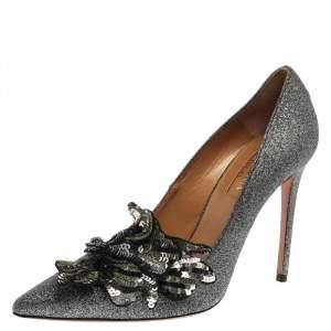 Aquazzura Black Glitter Suede Poison Pointed Toe Pumps Size 37.5