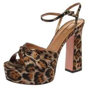 Aquazzura Caramel Brown Jacquard Leopard Baba Plateau Sandals Size 38.5