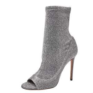 Aquazzura Silver Glitter Lurex Fabric Eclair Ankle Booties Size 40
