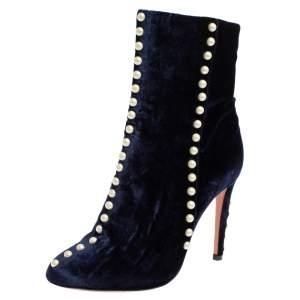 Aquazzura Navy Blue Velvet Follie Pearls Ankle Boots Size 36.5
