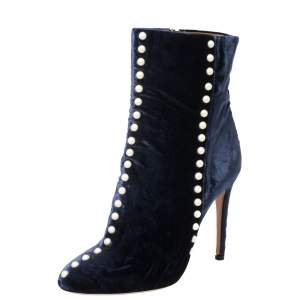 Aquazzura Navy Blue Velvet Follie Pearls Ankle Boots Size 39.5
