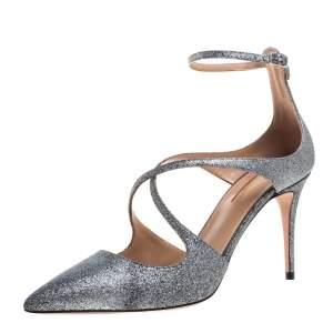 Aquazzura Silver Glitter Viviana Pumps Size 38.5