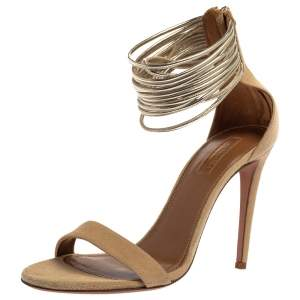 Aquazzura Beige Suede And Metallic Gold Leather Spin Me Around Ankle Cuff Sandals Size 37.5