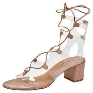 Aquazzura PVC And Beige Leather Milos Ankle Wrap Sandals Size 40