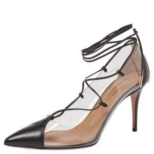 Aquazzura Black Leather And PVC Magic Ankle Wrap Pumps Size 37.5