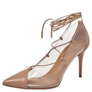 Aquazzura Beige Leather And PVC Magic Ankle Wrap Pumps Size 37