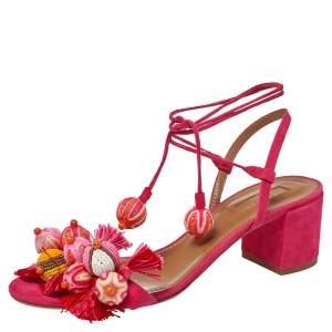 Aquazzura Paradise Pink Suede Tropicana Tasseled Beaded Ankle Tie Sandals Size 39