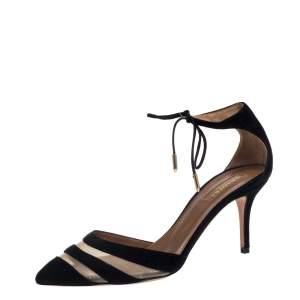 Aquazzura Black Suede Ankle Wrap Sandals Size 37