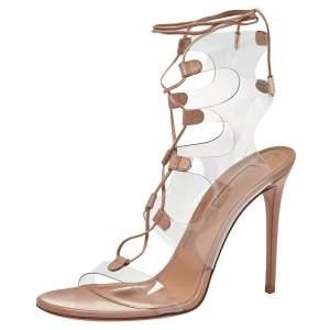 Aquazzura Beige PVC And Leather Milos Sandals Size 38