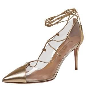 حذاء كعب عالى أكوازورا ماجيك جلد وبى فى سى ذهبى مقاس 37