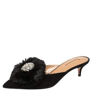 Aquazzura Black Suede Crystal Lotus Embellished Mules Size 36