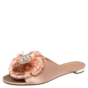 Aquazzura Beige Satin Powder Puff Crystal Embellished Flat Sandals Size 37
