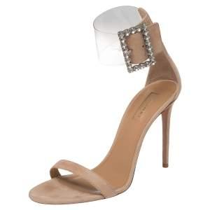 Aquazzura Beige Suede And PVC Casablanca Crystal Embellished Ankle Cuff Sandals Size 40