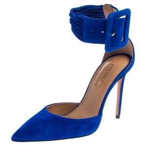 Aquazzura Blue Suede Casablanca Ankle Cuff Pumps Size 35