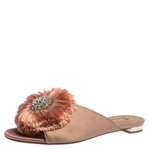 Aquazzura Nude Pink Satin And Fur Embellished Flat Sandals Size 37.5