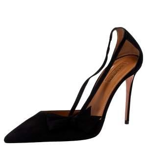 Aquazzura Black Suede Parisienne Bow Detail Pumps Size 38.5