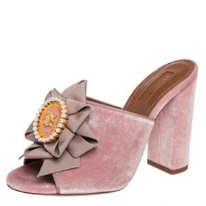 Aquazzura Pink Velvet And Fabric Embellished Slide Sandals Size 36.5