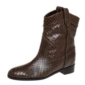 Aquazurra Brown Python Ankle Boots Size 38