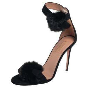 Aquazzura Black Suede Sinatra Sandals Size 38.5