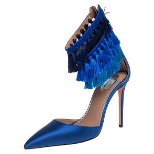Claudia Schiffer For Aquazzura Blue Satin And Suede Tasseled Loulou Pumps Size 36