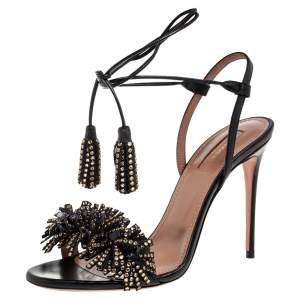 Aquazzura Black Leather Embellishment Ankle Wrap Sandals Size 37.5