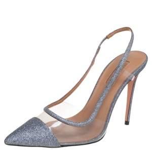 Aquazzura Silver Glitter And PVC Temptation Slingback Sandals Size 37