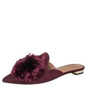 Aquazzura Burgundy Suede Powder Puff Flat Sandals Size 35.5