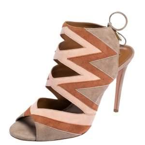 Aquazzura Tricolor Suede Frankie Open Toe Sandals Size 41