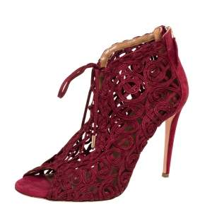Aquazzura Burgundy Suede And Lace Cut Out Open Toe Booties Size 41