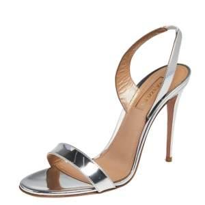 Aquazzura Silver Mirrored Leather So Nude Sandals Size 37