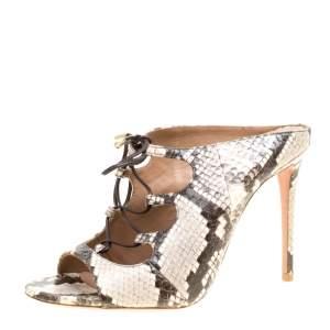 Aquazzura Two Tone Elaphe Leather Flirt Lace Up Peep Toe Mules Size 37