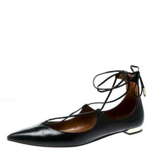 Aquazzura Black Leather Christy Lace Up Pointed Toe Flats Size 37