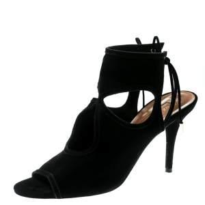 Aquazzura Black Cutout Suede Sexy Thing Peep Toe Sandals Size 37.5