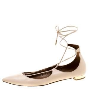 Aquazzura Beige Leather Christie Ankle Wrap Pointed Toe Flats Size 37