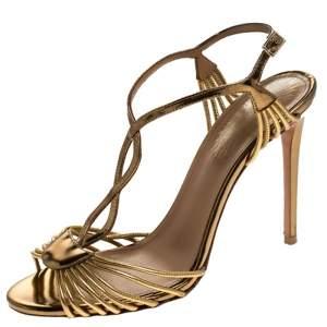 Aquazurra Metallic Gold Leather Josephine Ankle Strap Sandals Size 38