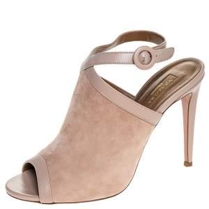Aquazurra Beige Suede And Leather Trim Eddie 105 Open Toe Ankle Strap Sandals Size 40