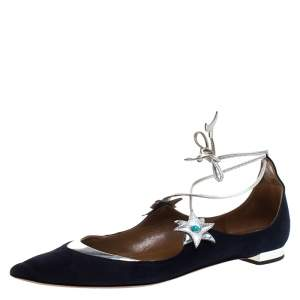 Aquazurra Blue/Silver Suede And Leather Poppy Delevingne Pointed Toe Ankle Wrap Flats Size 38