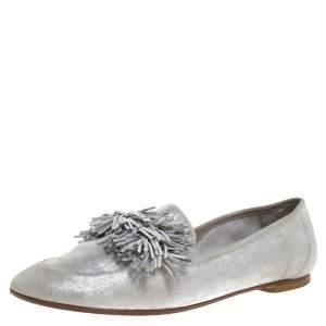 Aquazzura Silver Suede Fringe Detail Loafer Flats Size 38.5