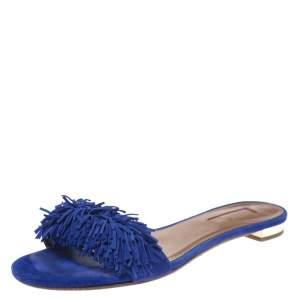 Aquazzura Blue Suede Wild Thing Fringe Trimmed Flat Slides Size 36