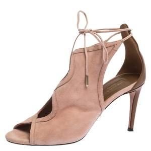 Aquazzura Pink Suede Leather Cut Out Ankle Wrap Open Toe Sandals Size 38
