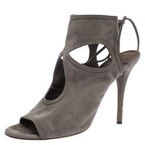 Aquazzura Grey Suede Leather Cutout Ankle Wrap Open Toe Sandals Size 38