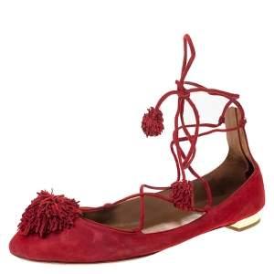 Aquaazzura Red Suede Leather Fringe Tassel Ankle Wrap Ballet Flats Size 40.5