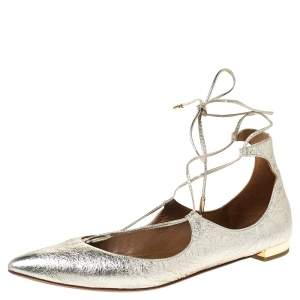 Aquazzura Gold Foil Leather Christy Lace Up Pointed Toe Flats Size 38