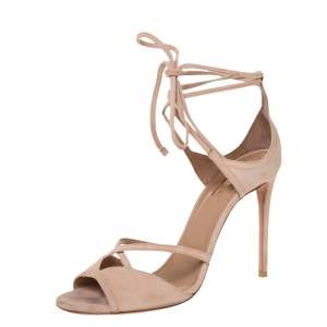 Aquazzura Powder Pink Suede Nathalie Ankle Wrap Sandals Size 39