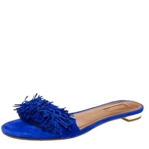 Aquazzura Blue Suede Wild Thing Fringed Flats Slides Size 38